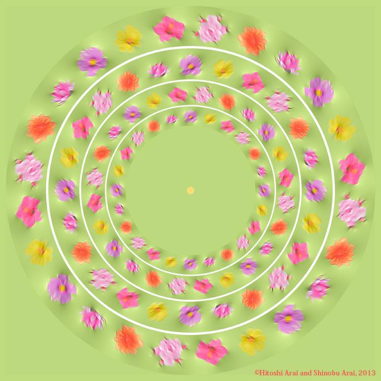 花壇の花が動いて見える錯視