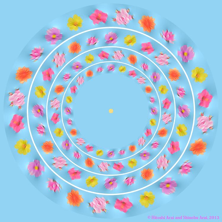 水面の花が動いて見える錯視
